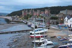 Une soirée au château de Conwy au Pays de Galles Photos stock
