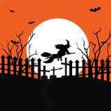 Une sorcière de vol avec un cimetière terrible dans la forêt sur le ful illustration stock