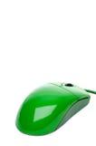 Une souris verte d'ordinateur sur le blanc Photo libre de droits