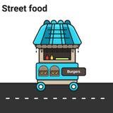 Une stalle avec des hamburgers La nourriture de rue Image stock