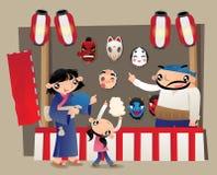 Une stalle de masque sur le marché japonais de festival d'été Photos libres de droits