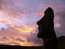 Une statue en pierre sur l'île de Pâques Image libre de droits