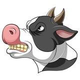 Une tête de bande dessinée d'une vache illustration libre de droits