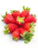 Une tête des fraises sur un fond blanc Photographie stock