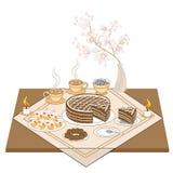 Une table de fête avec des bougies et un gâteau de chocolat Thé ou café chaud, bonbons, petits pains - un festin exquis pour chaq illustration libre de droits