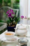 Une tasse blanche de thé avec la fleur pourpre Photo libre de droits