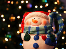 Une tasse de bonhomme de neige Photo stock
