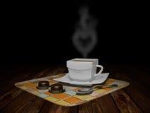 Une tasse de café avec des sucreries Photographie stock