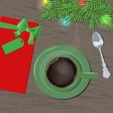 Une tasse de café avec un cadeau sur une table en bois avec le tre de Noël illustration de vecteur
