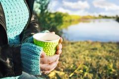 Une tasse de café chaude dans des mains à l'air frais avec des vues du paysage scénique images libres de droits