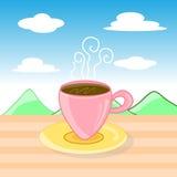 Une tasse de café dans le paysage illustration stock