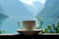 Une tasse de café, Norvège Photos stock
