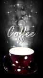 Une tasse de café sur le fond noir Photo stock