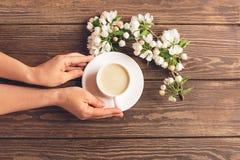 Une tasse de caf? aromatique chaud dans des mains femelles et une branche de floraison de pommier sur un fond en bois Disposition photos libres de droits