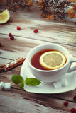 Une tasse de thé avec le citron, la cannelle et la menthe poussent des feuilles Images libres de droits