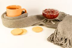 Une tasse de thé chaud enveloppée dans une écharpe se trouve avec une confiture de biscuit et de framboise Photographie stock