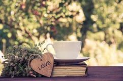Une tasse de thé d'été avec le thym Une tasse de thé et une pile de livres Concept romantique Photo libre de droits