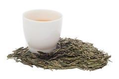Une tasse de thé vert sur le fond blanc Photographie stock libre de droits