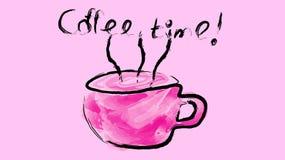 Une tasse pourpre avec une poignée de café noir de stimulation délicieux chaud, une boisson peinte avec le pinceau de gouache d'a Photographie stock libre de droits