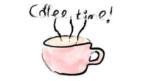 Une tasse rose avec une poignée de café noir de stimulation délicieux chaud, d'une boisson peinte avec le pinceau de gouache d'aq Image stock
