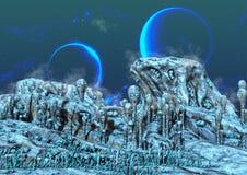 Une terre étrangère congelée, avec les lunes bleues derrière illustration stock