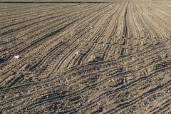 Une terre labourée et labourée, peut-être même semée photo stock
