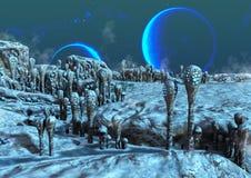 Une terre ?trang?re congel?e, avec les lunes bleues derri?re illustration stock