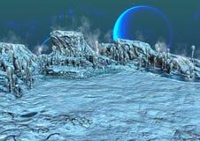 Une terre ?trang?re congel?e, avec les lunes bleues derri?re illustration libre de droits