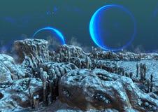 Une terre ?trang?re congel?e, avec les lunes bleues derri?re illustration de vecteur