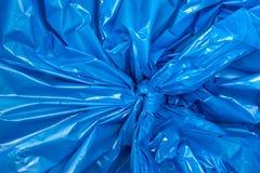 Une texture bleue de sachet en plastique Photographie stock