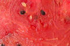 Une texture saturée de plan rapproché frais juteux rouge de pastèque image libre de droits