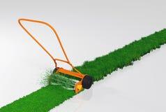 Une tondeuse à gazon de poussée fonctionne Photos libres de droits