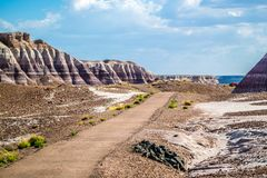 Une traînée dans Forest National Park pétrifié, Arizona image stock