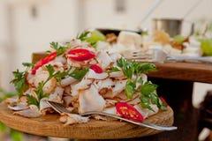 Une tranche délicieuse de lard de porc avec des épices, décorée du persil sur un conseil en bois photographie stock libre de droits