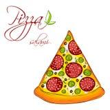 Une tranche de pizza délicieuse Images stock