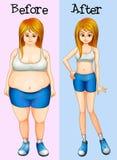 Une transformation d'une graisse dans une dame mince Image libre de droits