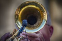 Une trompette dans l'action rend des personnes heureuses images libres de droits