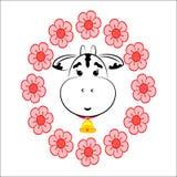 Une vache dans une guirlande de fleur illustration libre de droits