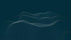 Une vague de particules Vague futuriste de point Illustration de vecteur Fond bleu abstrait avec une vague dynamique Vague 3d illustration stock