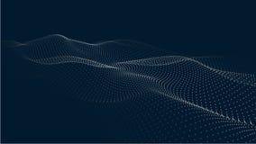 Une vague de particules Vague futuriste de point Illustration de vecteur Fond bleu abstrait avec une vague dynamique Vague 3d illustration libre de droits