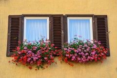 Une vieille fenêtre avec des volets dans Tübingen, Allemagne Image stock