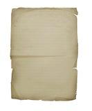 Une vieille feuille d'un cahier Photographie stock