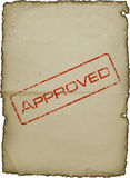 Une vieille feuille de papier avec une estampille Images libres de droits