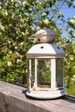 Une vieille lampe chinoise dans un jardin rustique Image stock