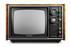 Une vieille TV avec un cinégramme monochrome a isolé 3d photographie stock libre de droits