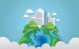 Une ville entourée par des arbres sur la terre avec des nuages style de papier d'art illustration stock