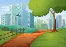 Une voie allant aux édifices hauts illustration de vecteur
