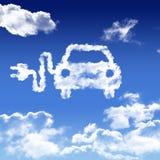 Voiture énergie propre nuage blanc ciel bleu. Une voiture à énergie propre dans les nuage blanc du ciel bleu air blanc bleu bouchon carburant clair Stock Image