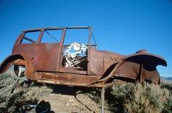 Une voiture abandonnée avec un squelette de vache conduisant en parc national de grand bassin, Nevada Photos libres de droits