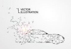 Une voiture avec une ligne connexion, illustration de point de vecteur illustration libre de droits